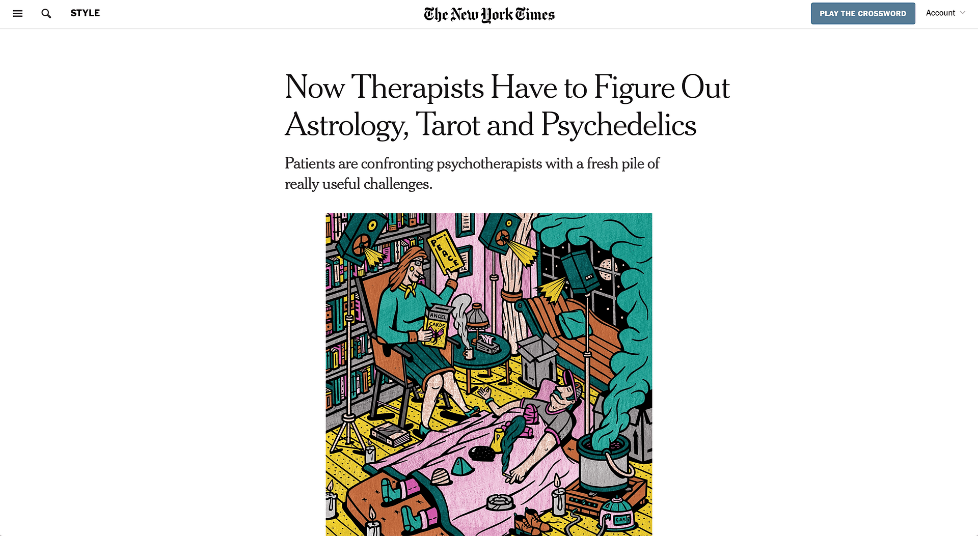 Therapists Figure Out Astrology, Tarot (NY Times) | LPTG Quote