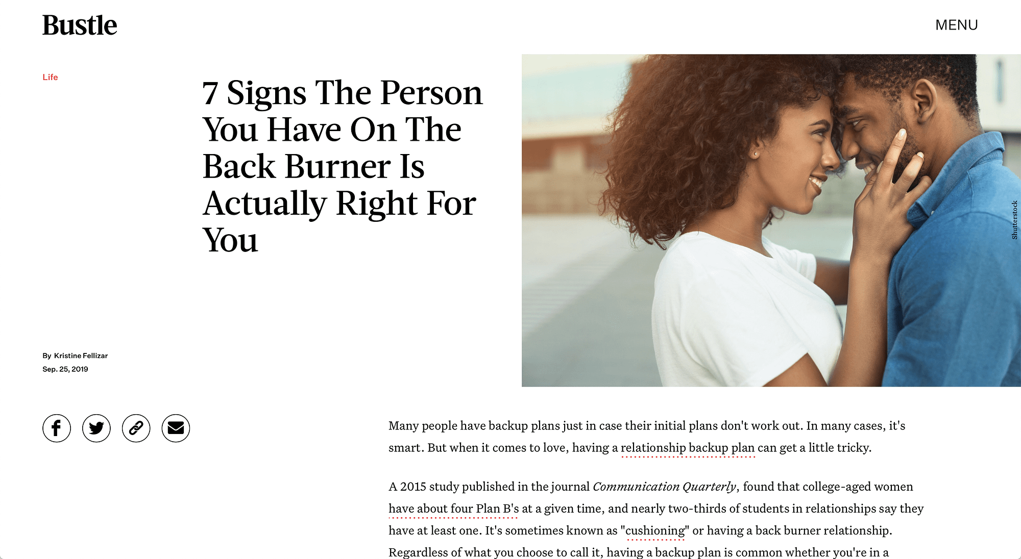 Signs The Person Is Right For You (Bustle) | LPTG Quote